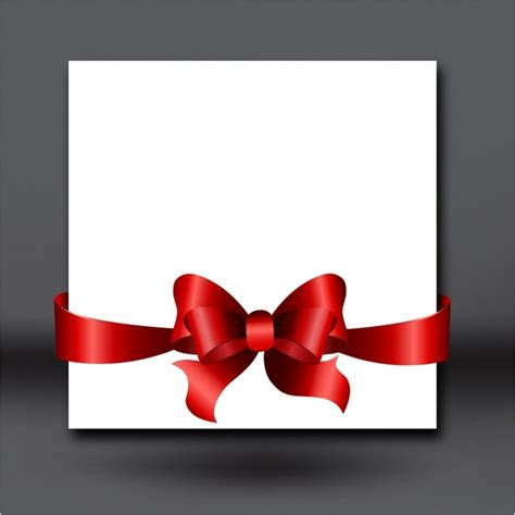 Ribbon Design For Invitation Card | invitation card with red ribbon and bow free vector in