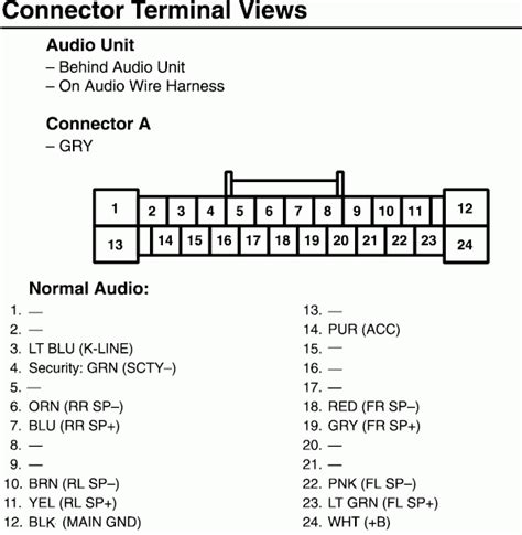 wiring diagram honda accord radio connector terminal