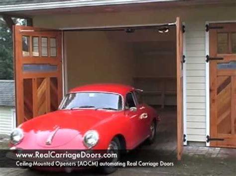 swing out garage door opener swing out carriage garage door opener youtube