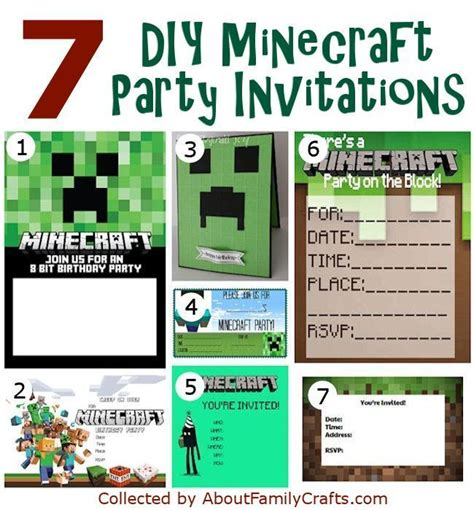 Birthday Card Template Minecraft by 25 Best Ideas About Minecraft Invitations On