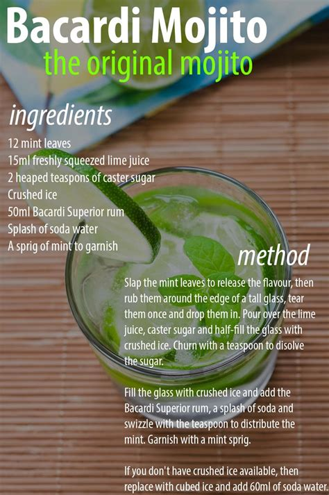 bacardi mojito recipe pin by elizabeth meade on yummy ideas pinterest