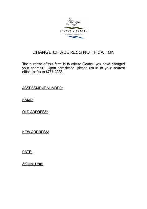 Change Of Address Notification Letter Template address change form template masir
