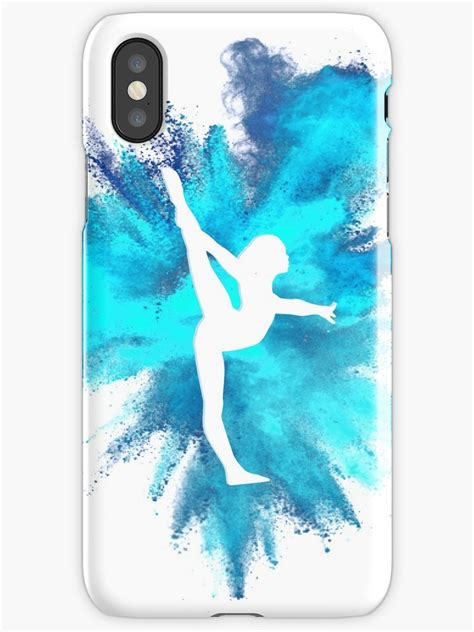 gymnast silhouette blue explosion iphone cases skins  flexiblepeople redbubble