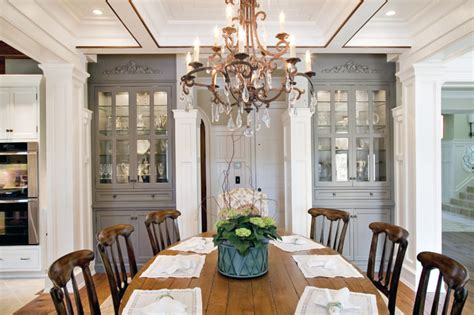 traditional dining room with custom china cabinets
