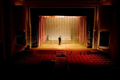stock photo  image   man   stage  empty hall