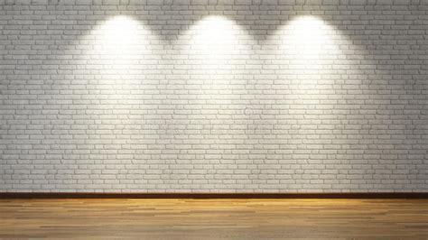 White Brick Wall With Three Spot Lights Stock Photo