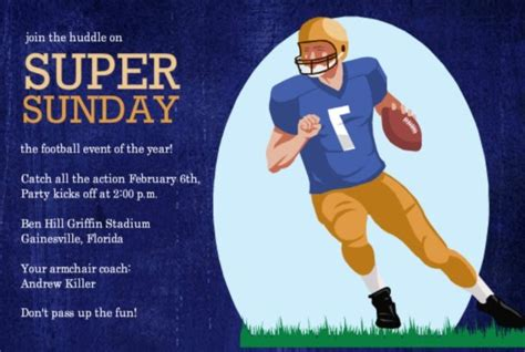 football invitations  tailgates superbowls birthdays