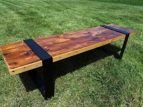 wood bench metal legs reclaimed wood bench with metal legs