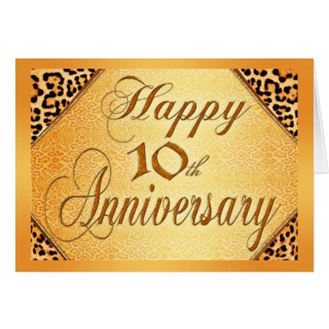 printable 10th wedding anniversary cards happy 10th anniversary greeting card zazzle