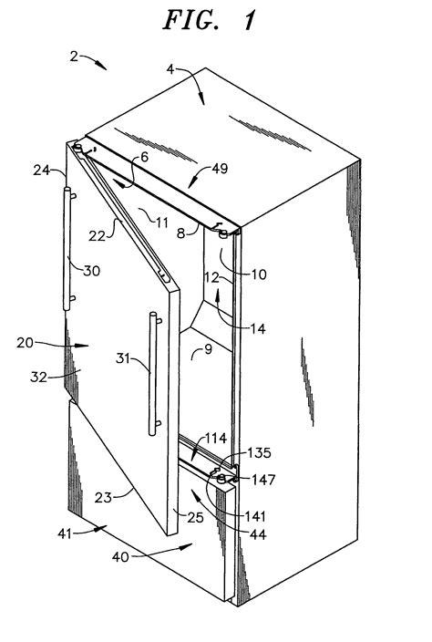 dual swing door patent us7516515 refrigerator with dual swing door