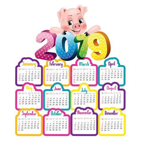 leuke kalender  met varken vector illustratie