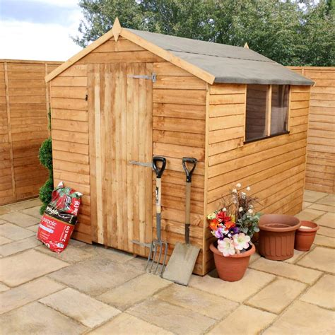8x6 overlap wooden shed window single door apex roof felt garden sheds 8ft 6ft ebay