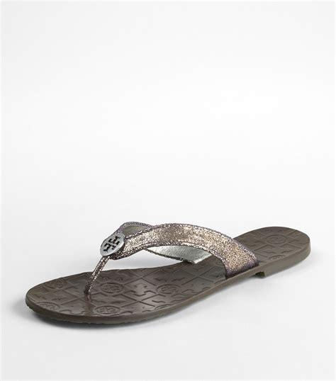 burch silver sandals burch metallic thora sandal in silver pewter lyst