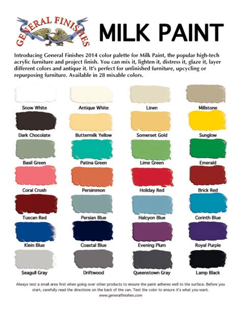 general finishes milk paint color chart 28 colors for