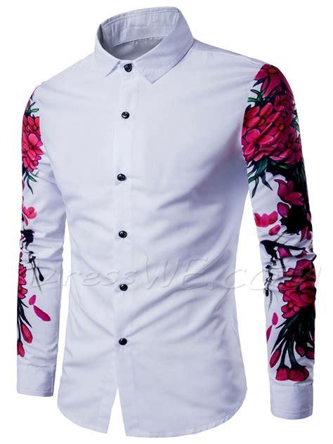 cadena de ropa hombre camisa de manga larga con estado de flores de manga