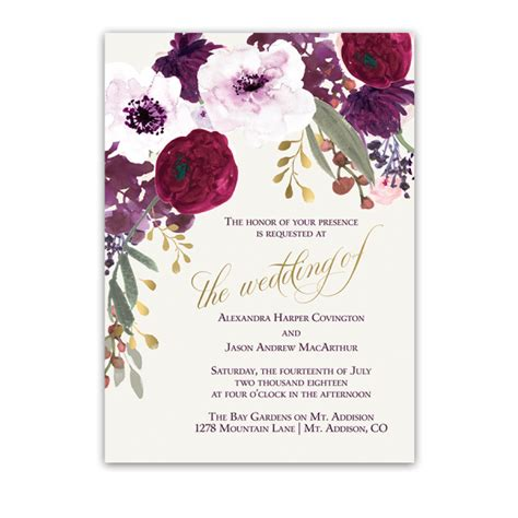 Floral Wedding Invitations by Floral Wedding Invitations Bohemian Purple Wine Flowers
