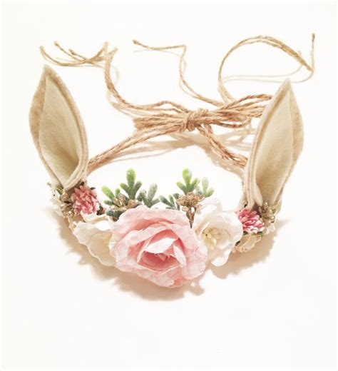 pink flower crown headband baby flower crown flower woodland deer flower crown photo prop baby tieback