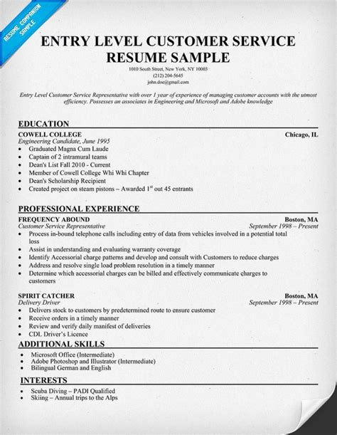 Resume Headline Exles For Customer Service Exles Of Resumes For Customer Service Sle Resume For Someone Seeking A As A Customer
