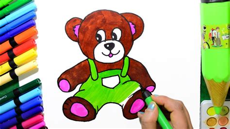 draw and color draw and color teddy coloring page and learn