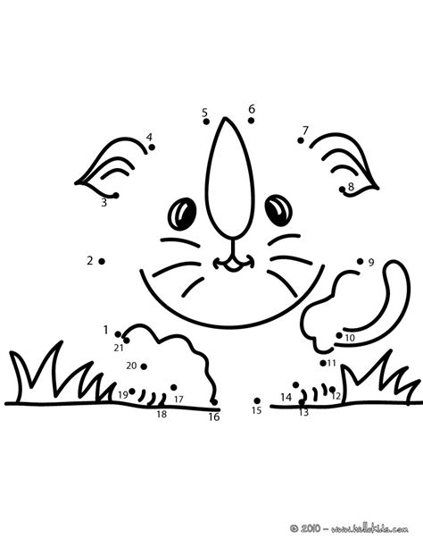 Cat dot to dot game coloring pages - Hellokids.com