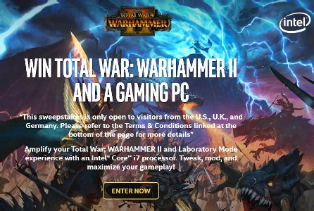 Intel Sweepstakes - intel sega total war sweepstakes win grand prize