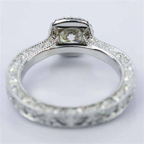 scroll work milgrain halo engagement ring 0 92 ct