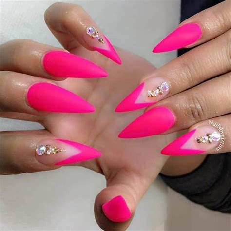 Neon Pink Nail Designs 8 matte stiletto nails to make the turn