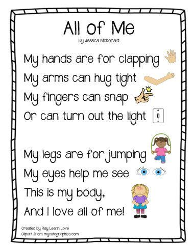 printable lyrics all of me quot all of me quot body parts poem from play learn love