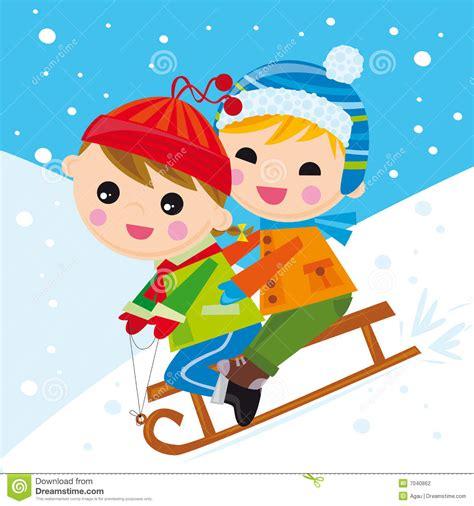 imagenes niños jugando en la nieve ni 241 os en la nieve llevada fotograf 237 a de archivo imagen