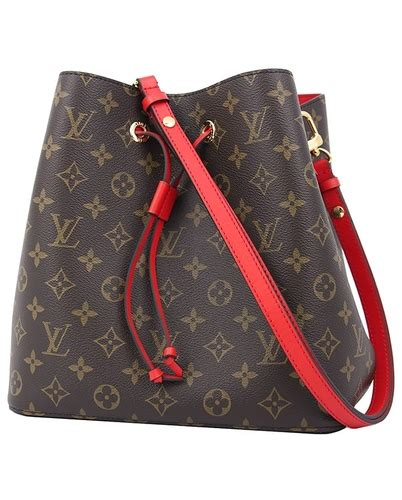 louis vuitton neo noe monogram red brown bucket bag