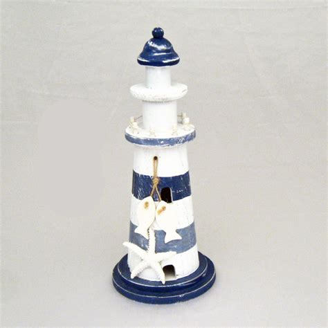 lighthouse themed decorations 11 quot blue white striped wood lighthouse with starfish