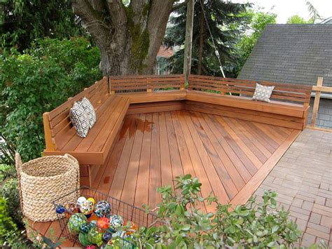 built in bench on deck benches with backs deck traditional with basket bench