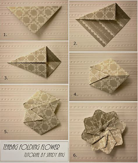 Paper Folding Steps - how to fold paper teabag flower step by step diy