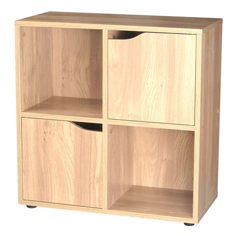 oak 4 cube 2 door wooden storage unit display shelving