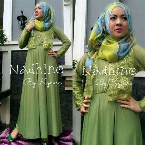 Gamis Syar I Hijau Pupus nadhine hijau pupus baju muslim gamis modern