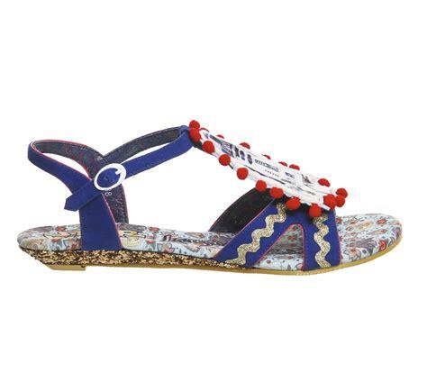 Irregular Choice Shimmy Pom Pom Slingback by Irregular Choice Droid Duo Sandal Blue Multi Sandals