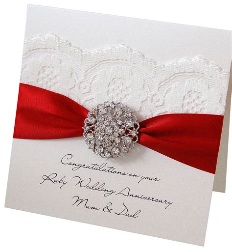 wedding anniversary card opulence ruby wedding anniversary card by made with