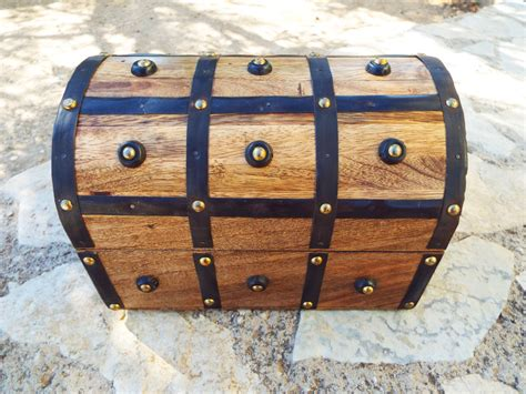 Handmade Wooden Treasure Chest - box vintage chest handmade wooden treasure chest jewelry