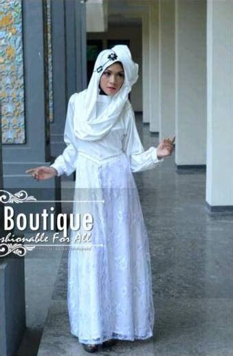 Baju Muslim Putih Tulang syakira putih baju muslim gamis modern
