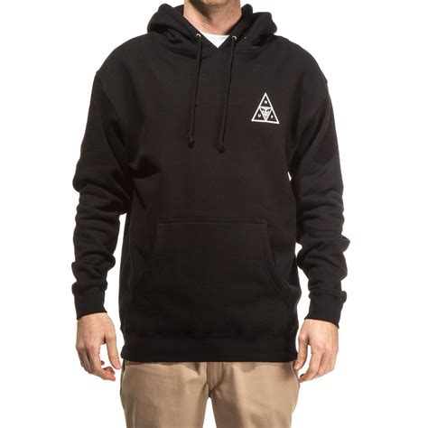 huf x obey triple triangle pullover hoodie black