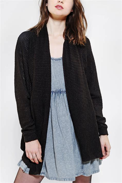 black knit cardigan lyst outfitters ecote batwing knit cardigan in black