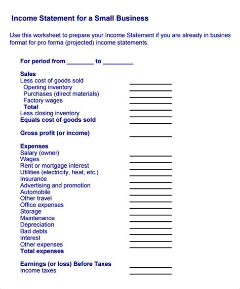 10 Sle Income Statements Sle Templates Home Business Profit And Loss Statement Template