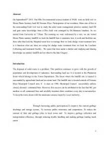 Sample Of Visit Report Field Visit Report On Moonplains Sanitary Land Fill In