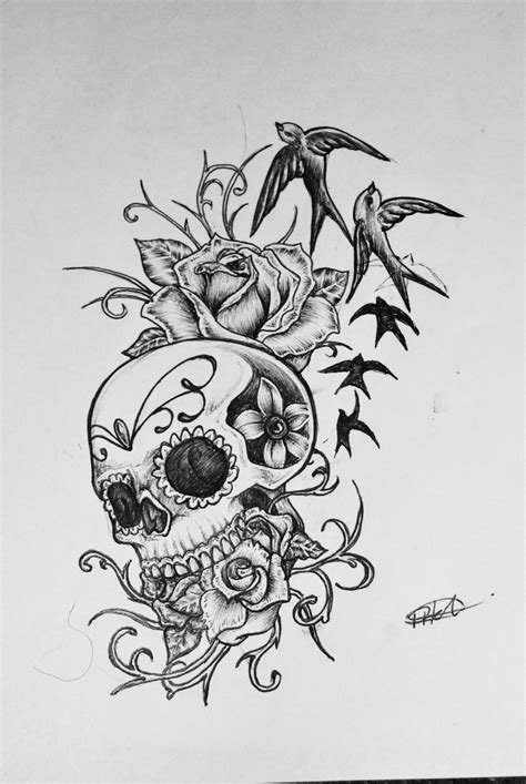 skull and rose tattoo design sugar skull design photos