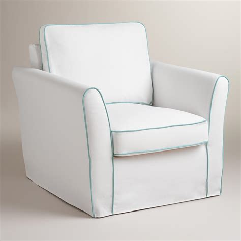 white slipcovers for chairs white and blue luxe chair slipcover world market