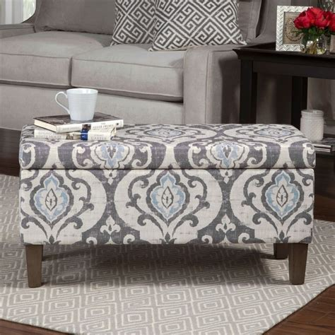 Damask Storage Ottoman Homepop Blue Slate Damask Pattern Storage Ottoman By Homepop Decorative Storage Furniture And