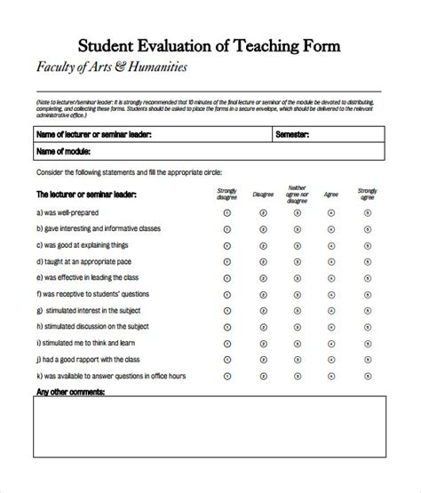 teaching feedback form template 9 evaluation forms sles exles formats