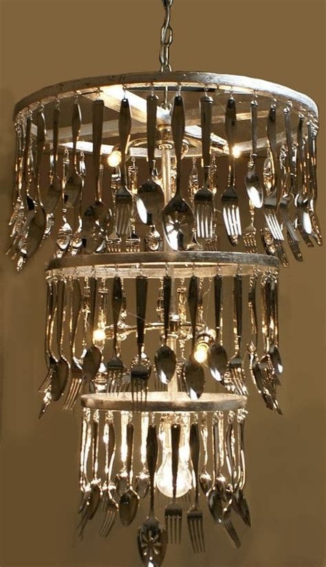 Silverware Chandelier Now You Could Buy An Chandelier That Has The Crystals On It And Replace Them With Cutlery