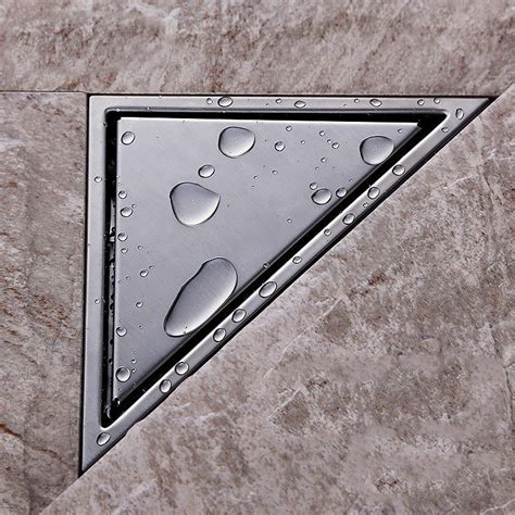 bathroom water drain triangle wall corner stainless steel floor drain shower
