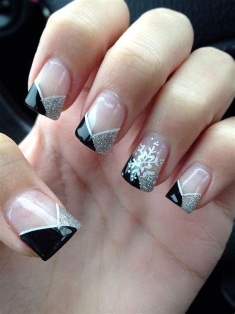 nail design ideas january black and silver chevron french tip prom nails prom hair